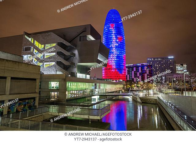 Building Design Hub Barcelona, by MBM architects. Agbar Tower, by Jean Nouvel. Glories district. Barcelona. Spain