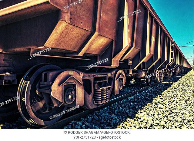 Railway truck used to ship iron ore across South Africa from the mine to a smelting plant
