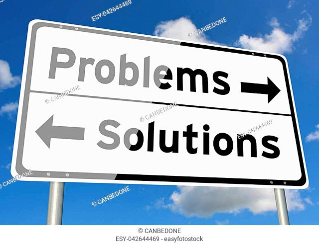 Problems versus Solutions choice signpost concept sky