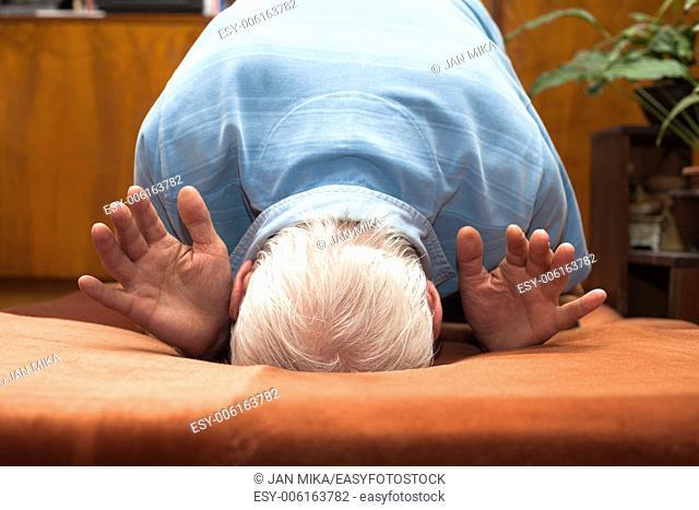 Close up of Senior man bowing