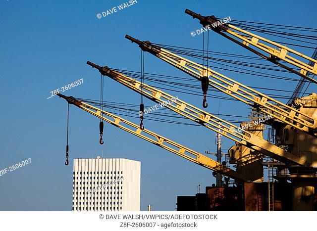 Ship cranes in in the port of Galveston, Texas