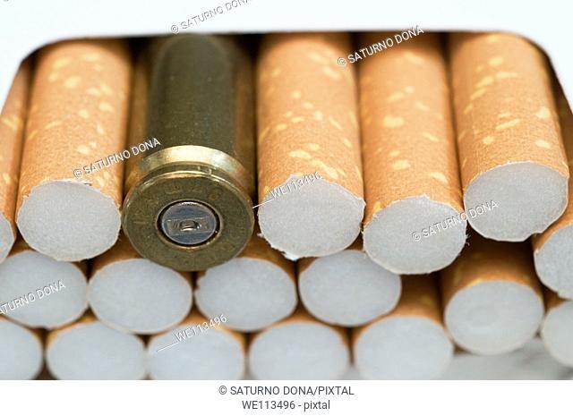 Bullet in cigarette box
