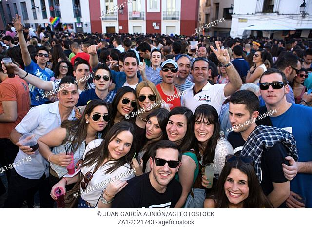 "BADAJOZ , SPAIN - MAY 04 : The annual """"lame pigeons"""" (palomos cojos in spanish) party. A huge gay pride feast at High Square of Badajoz celebrated on may 4"