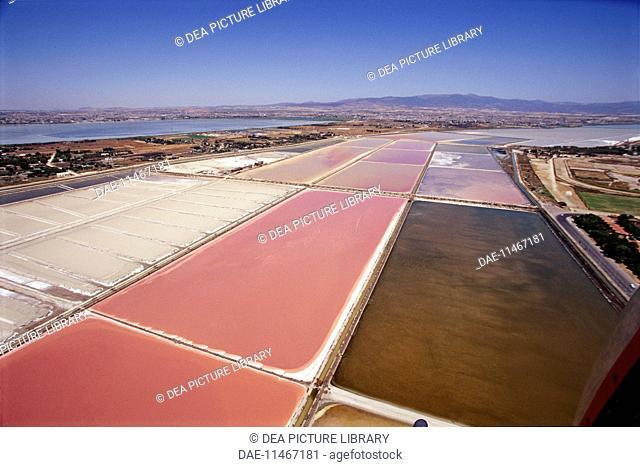 Aerial view of Cagliari salt ponds of Molentargius - Sardinia Region, Italy