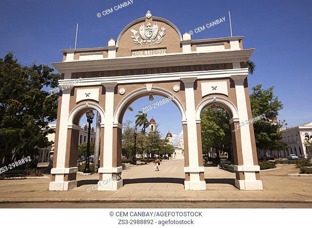 View to the Arch Of Triumph-Arco Del Triunfo at Parque Jose Marti in Plaza de Armas Square, Cienfuegos, Cuba, West Indies, Central America