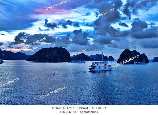 dusk in Halong Bay, Vietnam