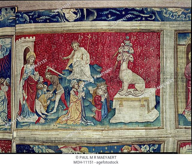 La Tenture de l'Apocalypse d'Angers, L'adoration de l'image de la Bête 1,43 x 2,50m, Anbetung von dem Bild des Tieres