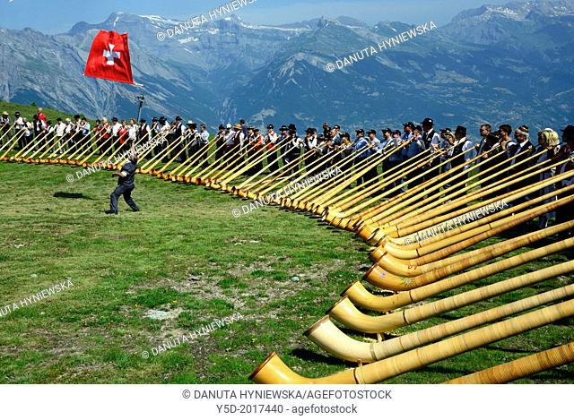 International Alphorn Festival, 27-20 July 2013, Nendaz, canton Valais, canton Wallis, Switzerland