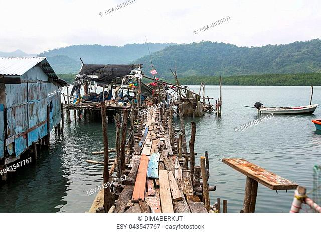 Thai fishing village on wooden stilts in the sea