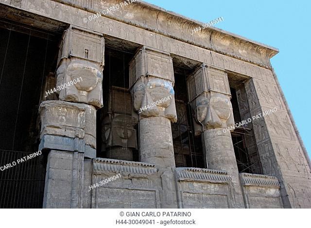 Egypt,Dendera,Ptolemaic temple of the goddess Hathor.View of hypostyle hall from courtyard