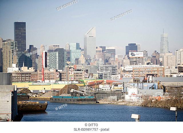 Ships and skyline, New York City, New York, USA