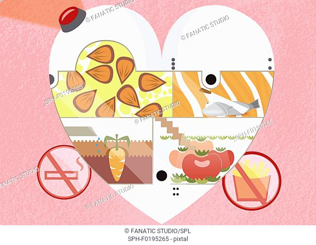 Illustration of healthy food in heart