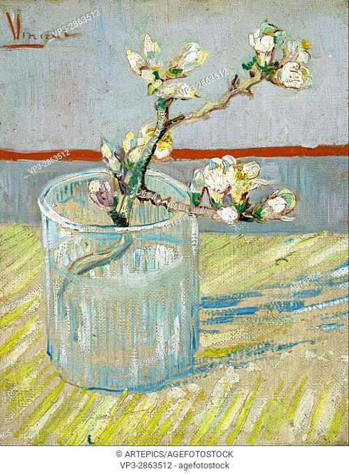 Vincent van Gogh - Sprig of flowering almond in a glass - Van Gogh Museum, Amsterdam