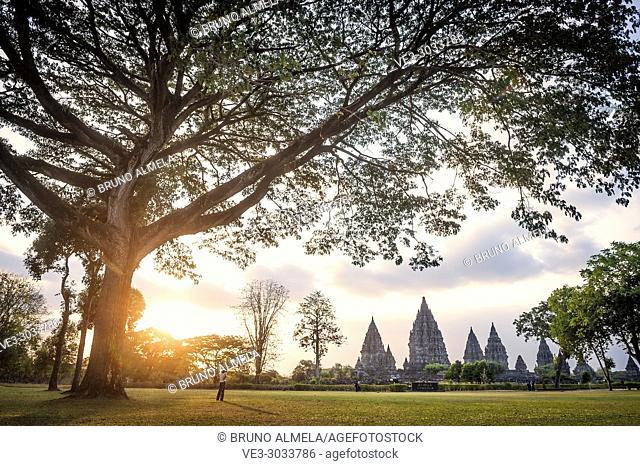 Sunset over Prambanan Hindu Temple Coumpounds (UNESCO World Heritage Site), Special Region of Yogyakarta,Central Java, Indonesia