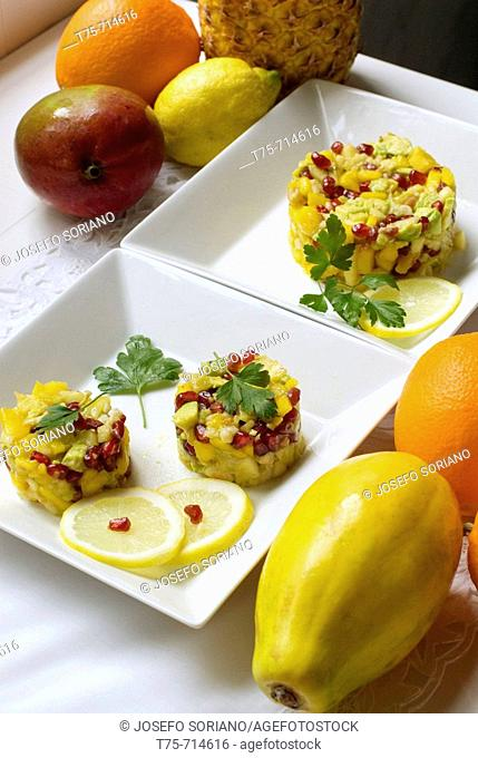 Exotic fruit cake with shrimp