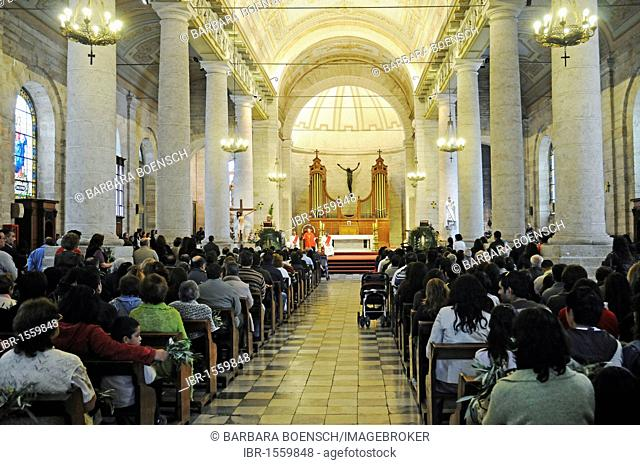 Church full with worshipers, tradition, customs, Palm Sunday, Cathedral, La Serena, Norte Chico, Northern Chile, Chile, South America