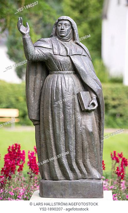 Scultpure of Bridget of Sweden, a mystic and saint, founder of the Bridgettines nuns and monks in Vadstena