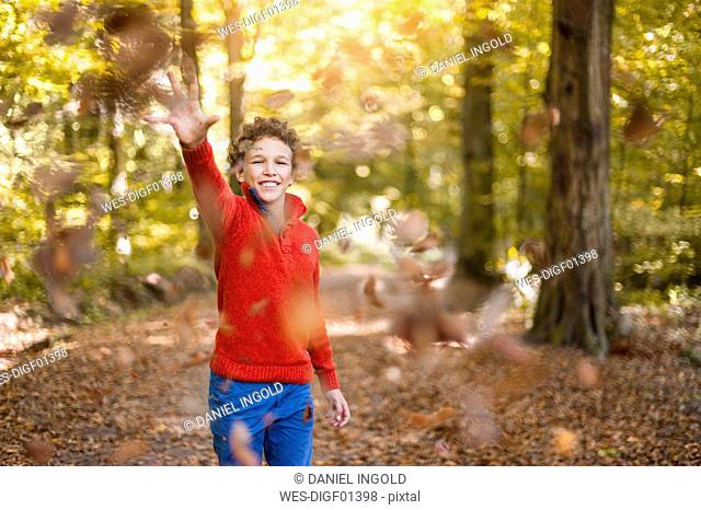 Smiling boy throwing leaves in the air in the autumnal forest