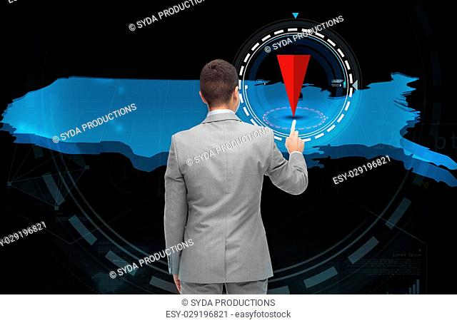 business, people, navigation, location and technology concept - businessman with virtual usa map and pointer over black background