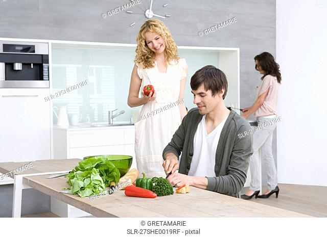 Friends cooking