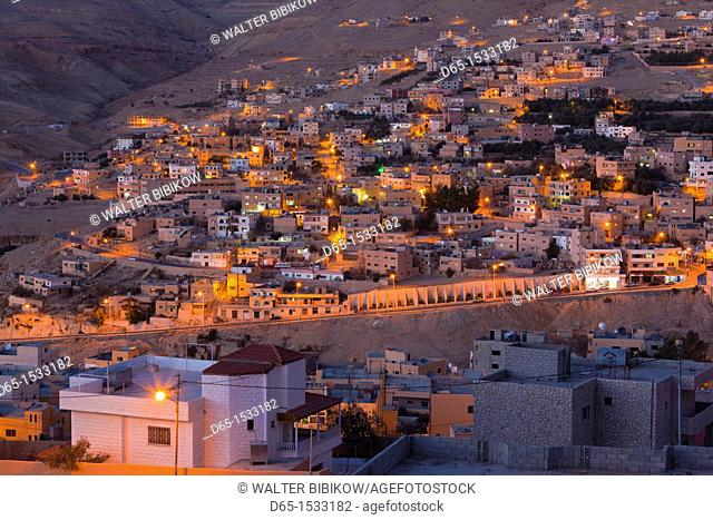Jordan, Petra-Wadi Musa, elevated view of the new town of Wadi Musa, evening