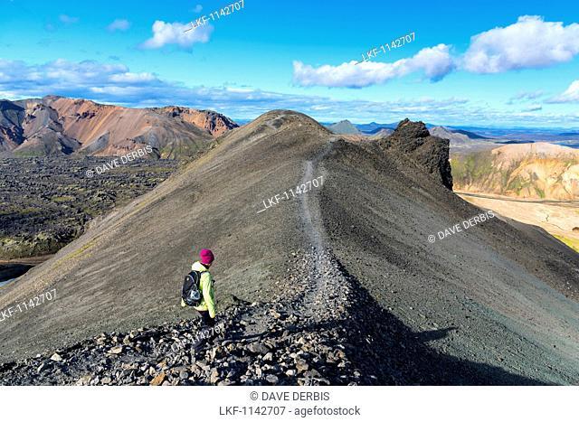 Hiker, Young Woman, Summit, Ridge, Landmannalaugar, Highlands, Iceland, Europe