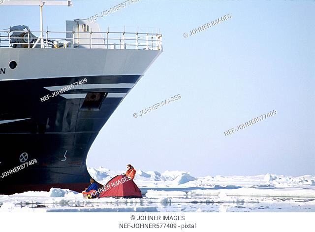 A ship in the ice in Svalbard, Norway
