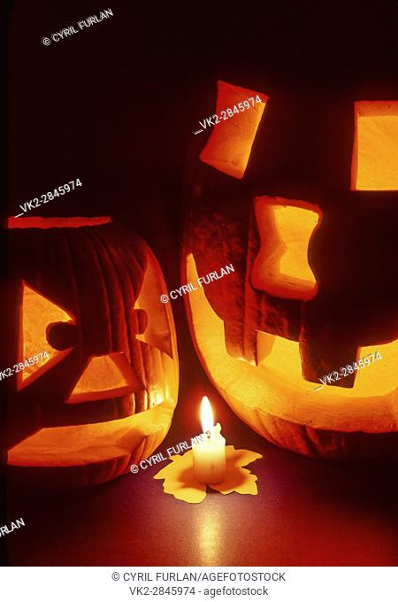 Two Halloween Jack O Lanterns
