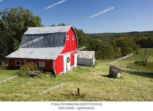 Red barn. Indiana Farm Country. Nashville. Indiana. USA