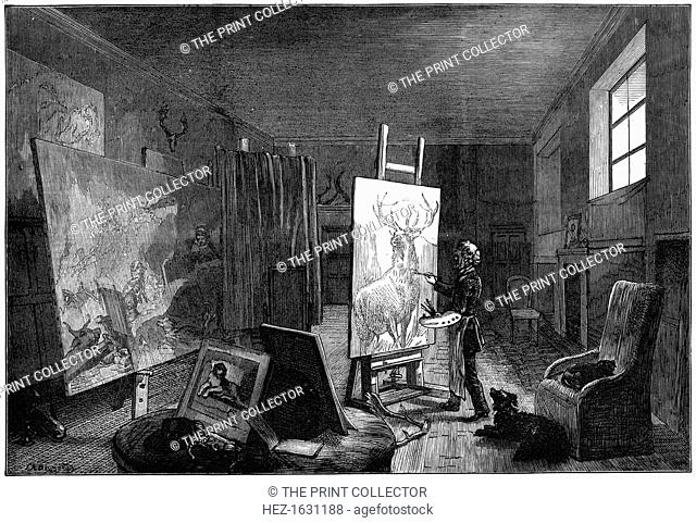 Sir Edwin Landseer's (1802-1973) studio, Brighton, East Sussex, 1874. From The Illustrated London News (19 September 1874)
