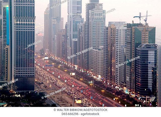 UNITED ARAB EMIRATES (UAE)-DUBAI-Sheik Zayed Road Area: Sheikh Zayed Road Highrises / Dusk