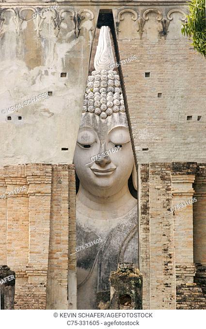 Giant Buddha statue at temple Wat Si Chum. Sukhothai. Thailand