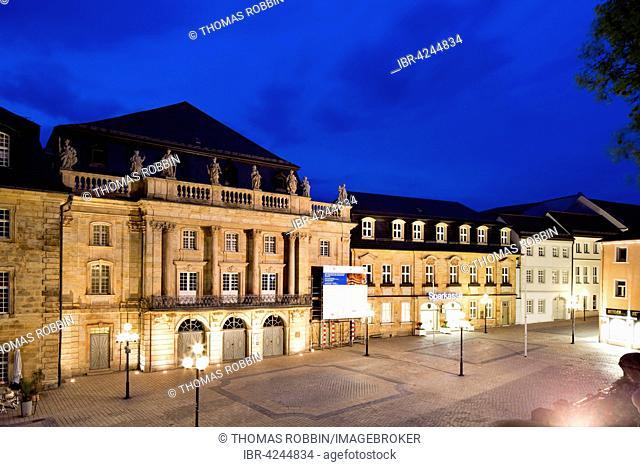 Margravial Opera House, 1748, at twilight, UNESCO World Heritage Site, Bayreuth, Upper Franconia, Bavaria, Germany