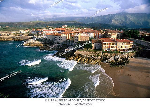 Llanes village. Sablon beach. Asturias. Spain