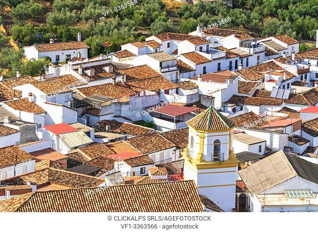 Moorish bell tower of Church of Santiago El Mayor in the traditional white town (Pueblos Blancos) of Montejaque, Serrania de Ronda, Malaga province, Andalusia