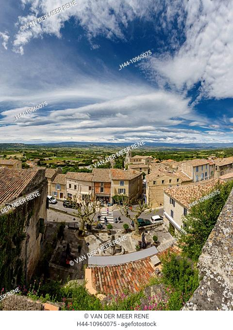 View, roofs, town, village, spring, mountains, hills, Bonnieux, Vaucluse, France, Europe