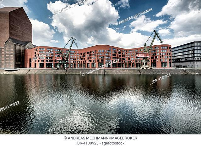 Landesarchiv or national archives of North Rhine-Westphalia, Inner harbour, Duisburg, Ruhr district, North Rhine-Westphalia, Germany