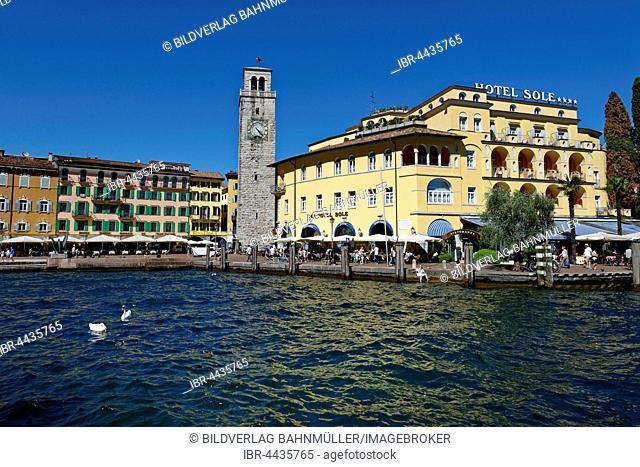 Harbour, Torre Apponale clock tower, Riva del Garda, Lake Garda, Trentino Province, Italy