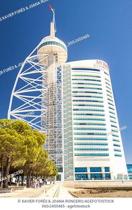 Vasco da Gama tower and hotel in Parque das Nações - Park of the Nations -, Lisboa, Portugal