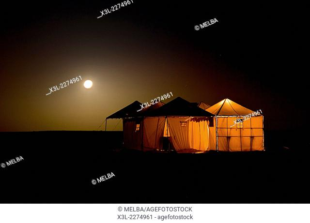 Camp in White desert. Sahara desert. Egypt