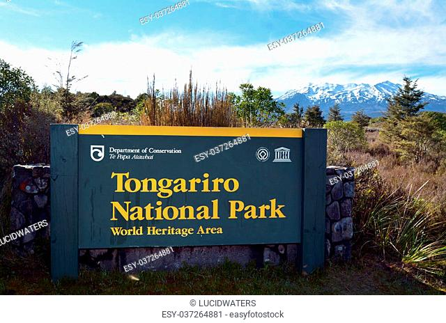 NATIONAL PARK, NZ - NOV 25 2014:Sign of Tongariro National Park.It has been acknowledged by UNESCO as one of the 28 mixed cultural and natural World Heritage...