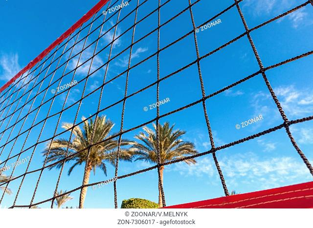 volleyball net on a background blue sky