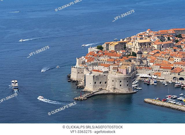 The town in summer from an elevated point of view. Dubrovnik, Dubrovnik - Neretva county, Croatia
