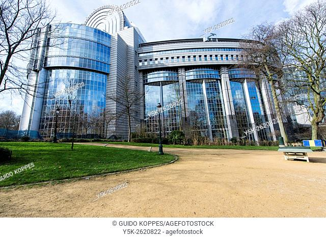 Brussels, Belgium. The main building, in which the European Parliamant works and meets for plenary sessions