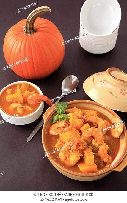 Prawn pumpkin curry,