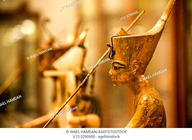 A Golden Statue of king Tutankhamen, The King as Harpooner, New Kingdom, Egyptian museum, Cairo, Egypt