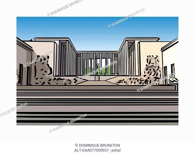 Illustration of th Palais de Tokyo in Paris, France