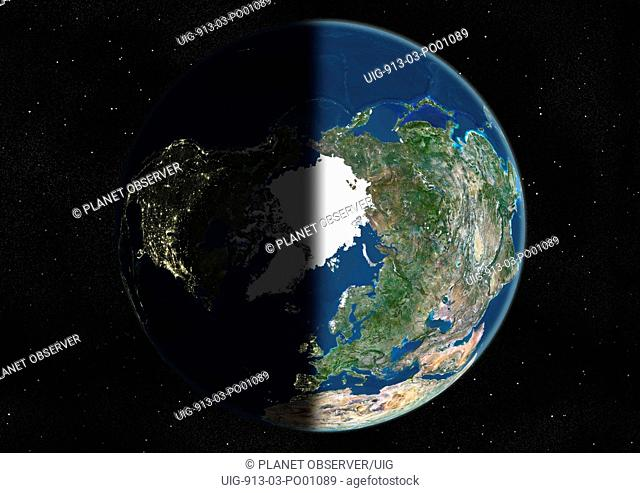 Globe Centred On The North Pole, True Colour Satellite Image. True colour satellite image of the Earth centred on the North Pole, at the equinox at 6 a