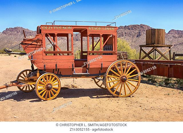 Old Tucson Stagecoach at the Old Tucson Film Studios amusement park in Arizona