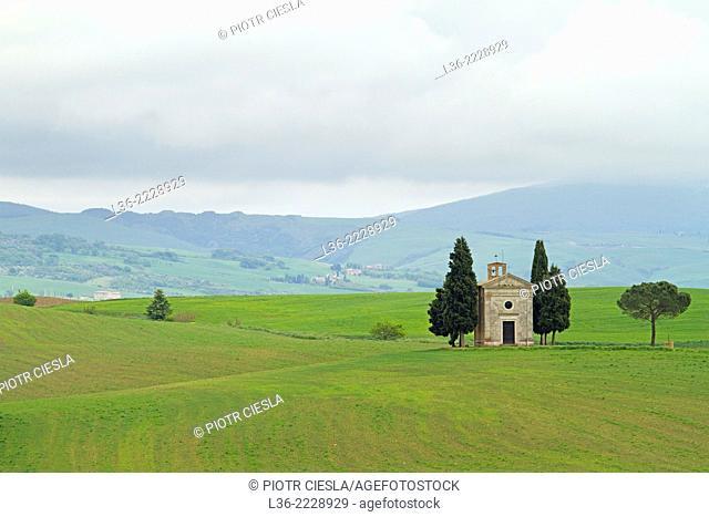 Cappella di Vitaleta Val d` Orcia Tuscany Italy